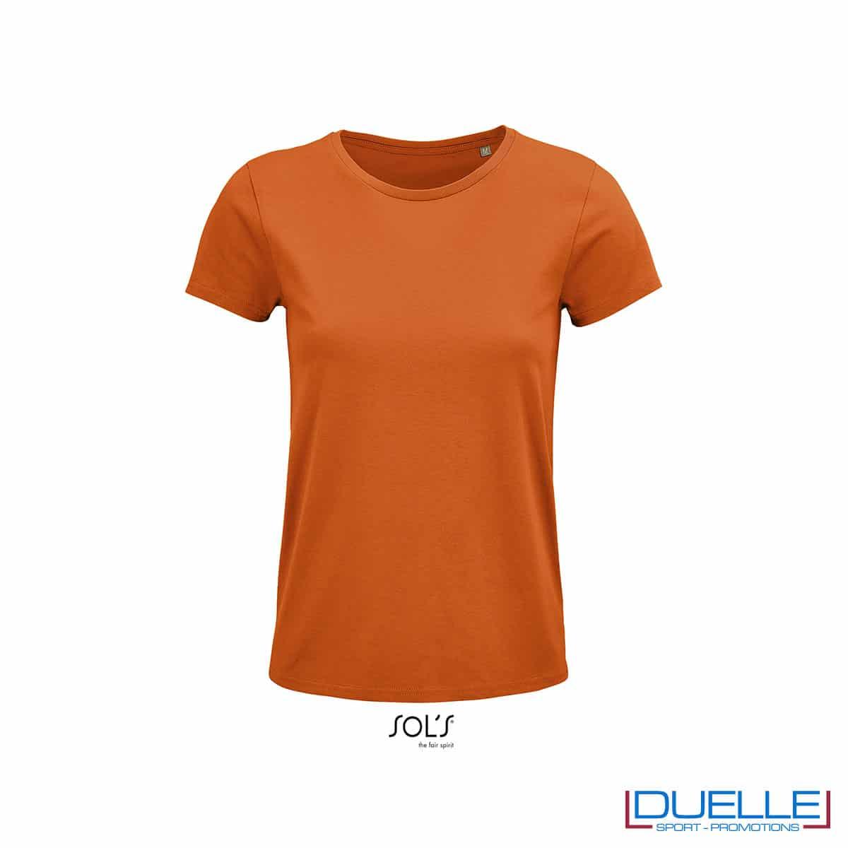maglietta donna arancione girocollo