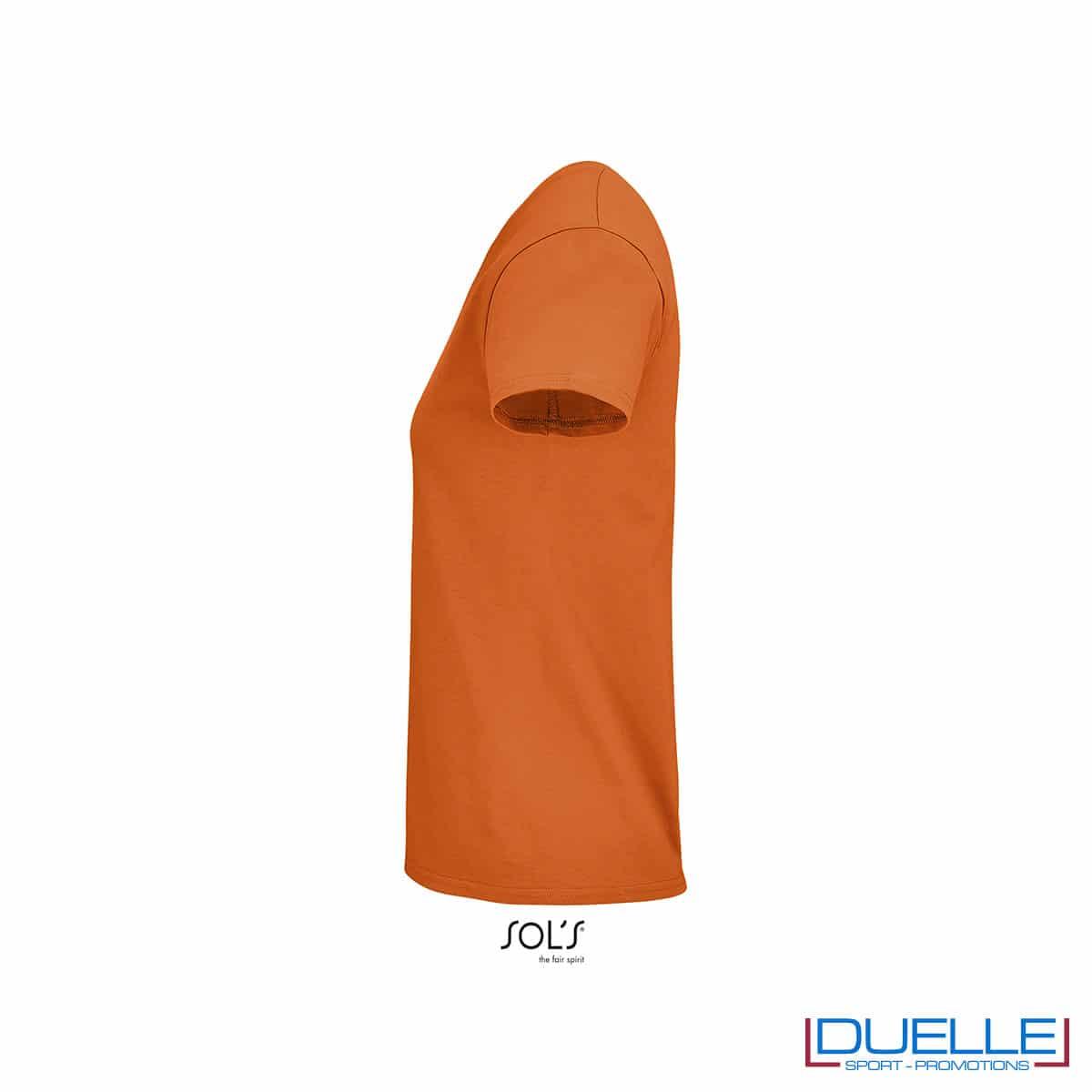 maglietta donna arancio girocollo lato