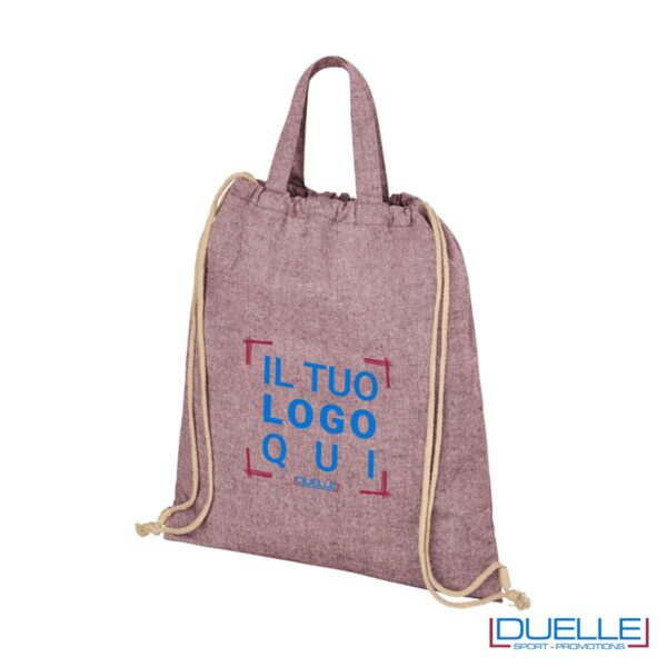 Shopper in tessuto riciclato colore bordeaux melange personalizzata