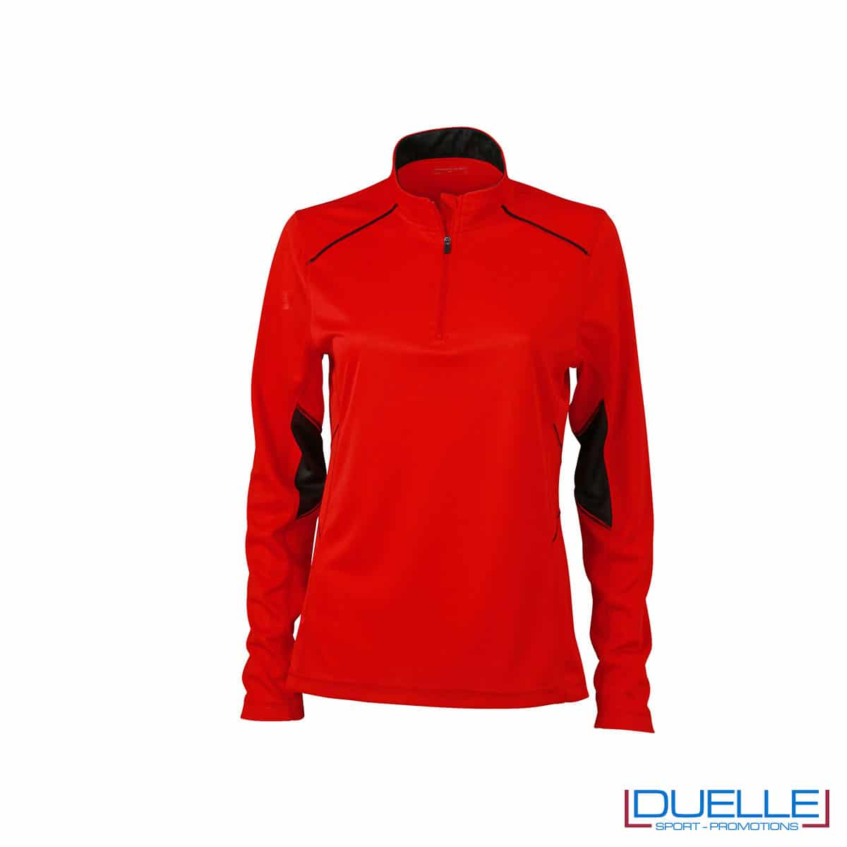 Maglia running con zip donna colore rosso personalizzata