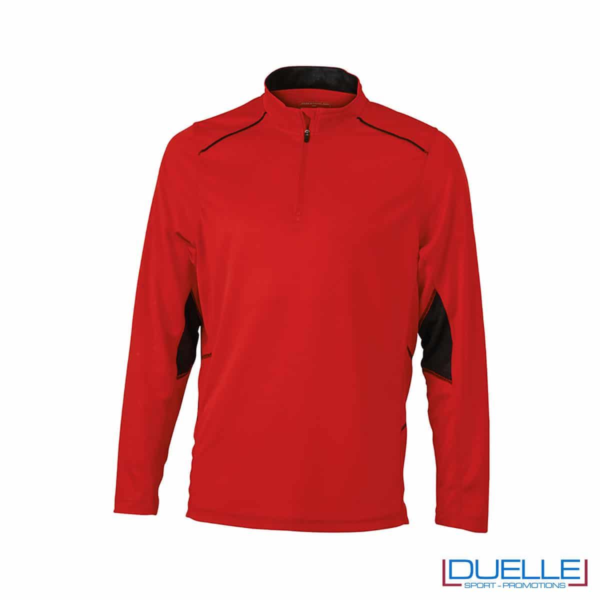 Maglia running con zip uomo colore rossa personalizzata
