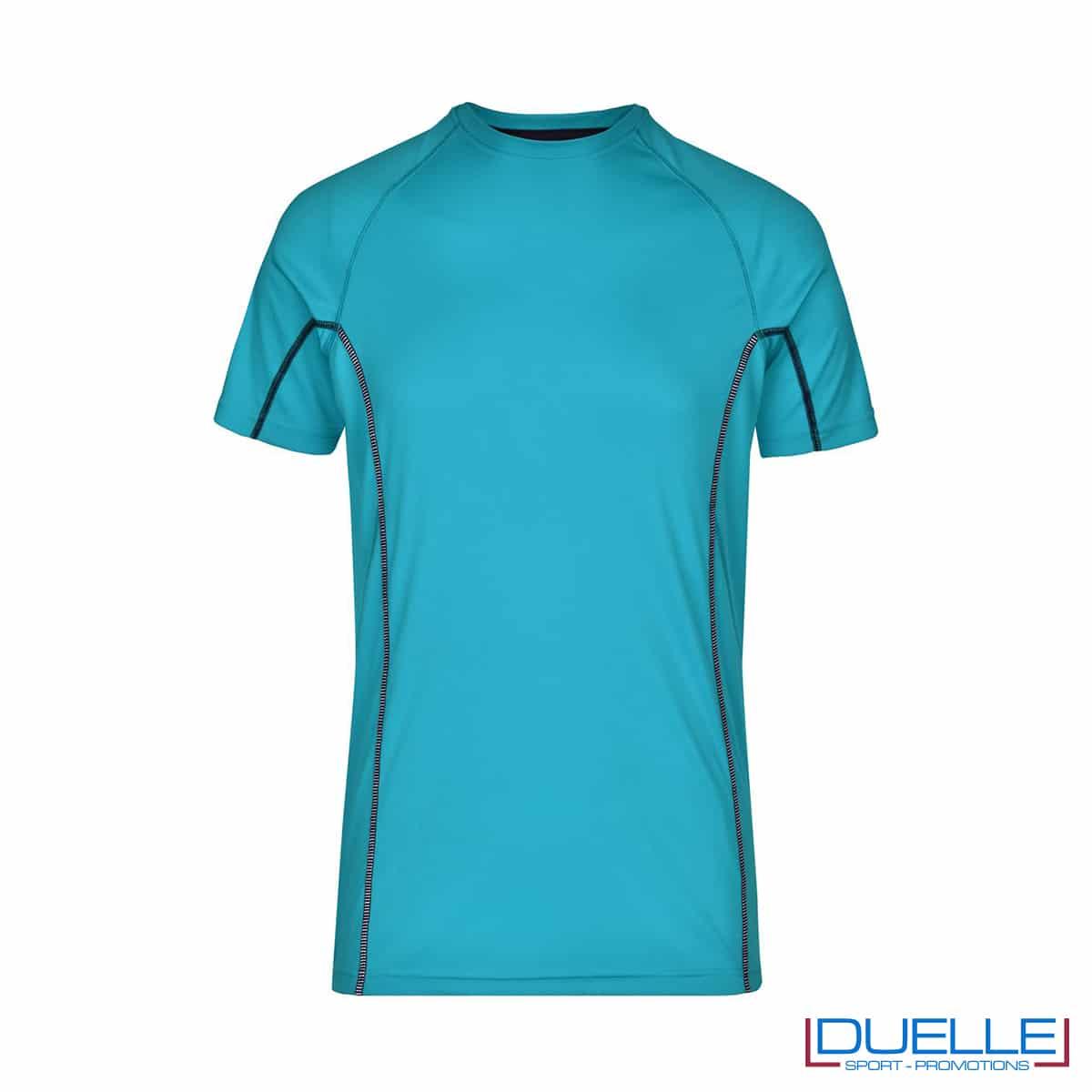 Maglia running Coolmax uomo colore azzurro personalizzata