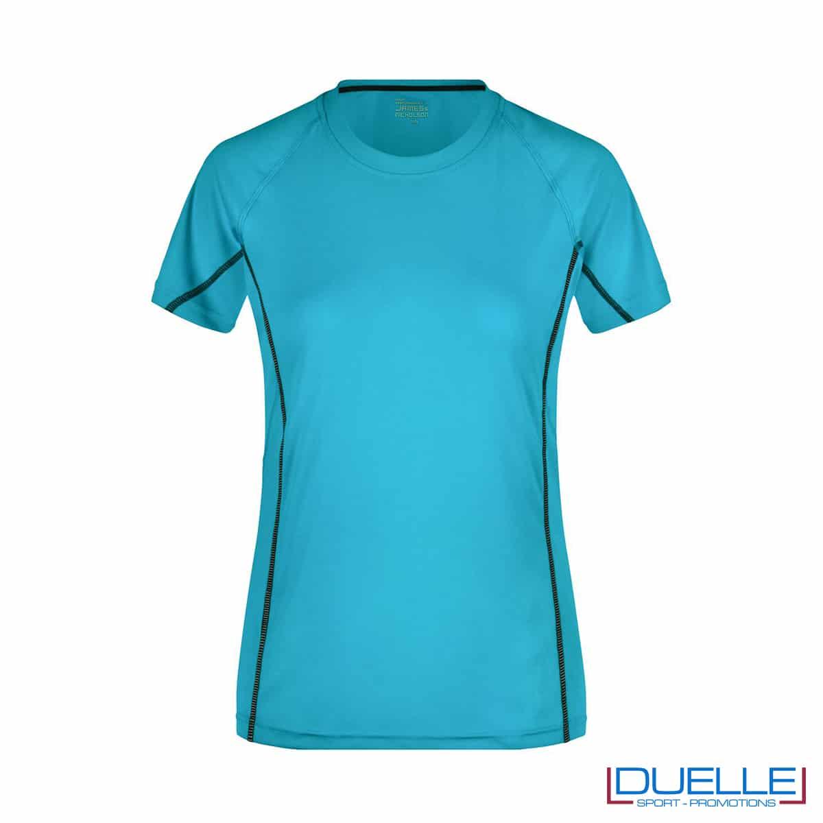 Maglia running Coolmax donna colore azzurro personalizzata
