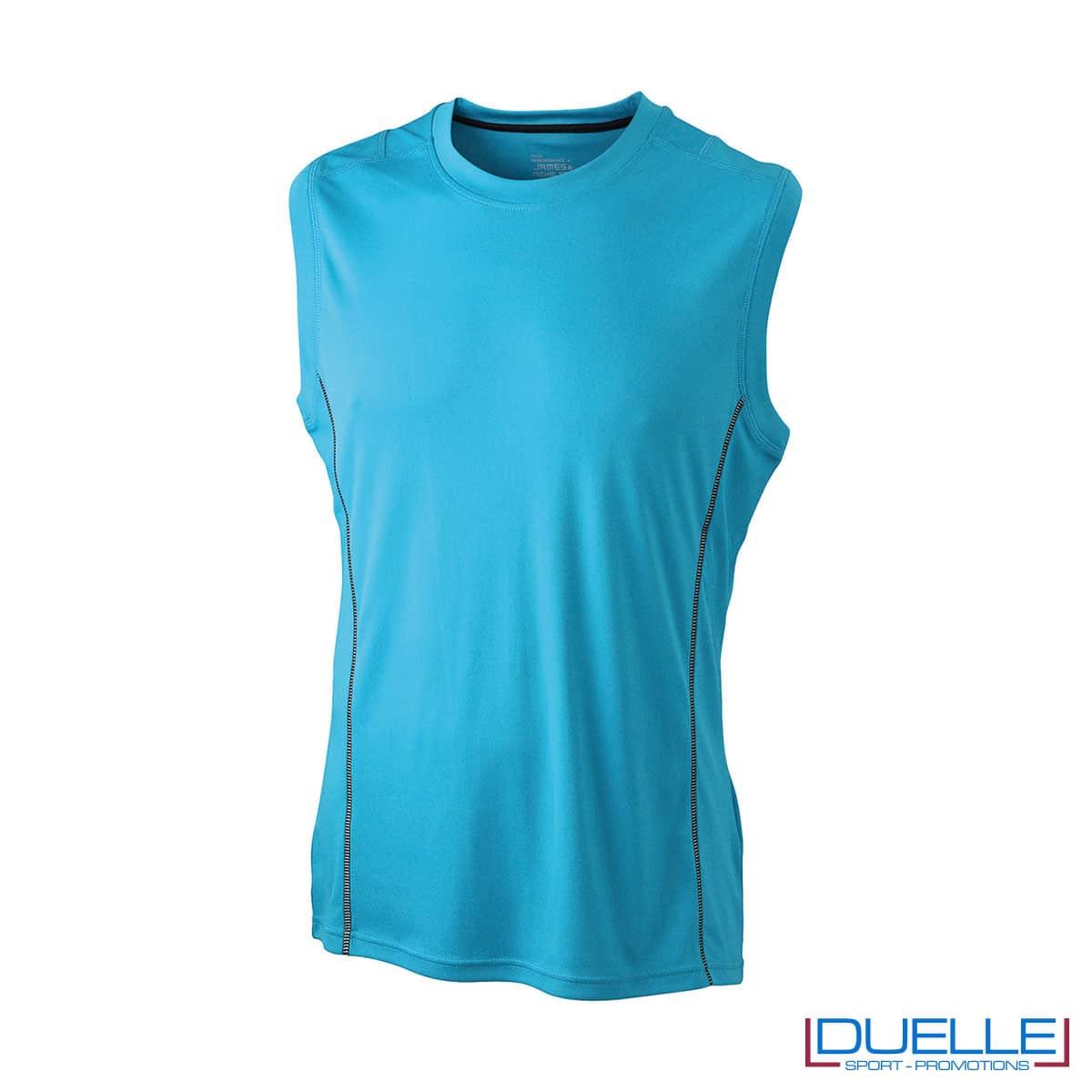 Canotta running uomo colore azzurro personalizzabile