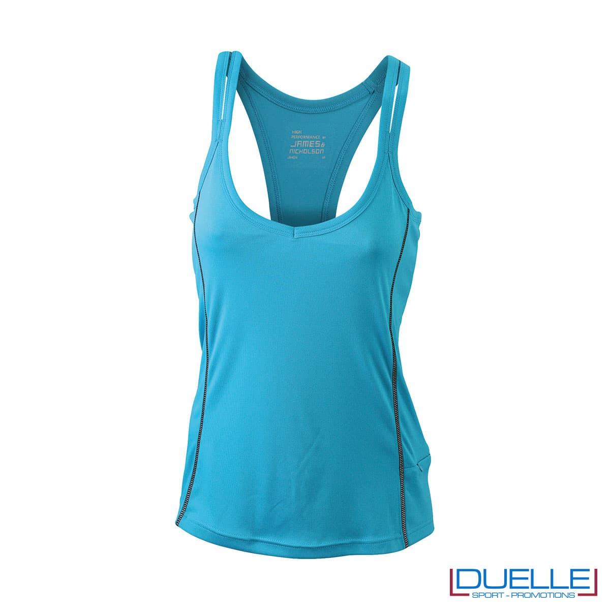 Canotta running donna colore azzurro personalizzabile