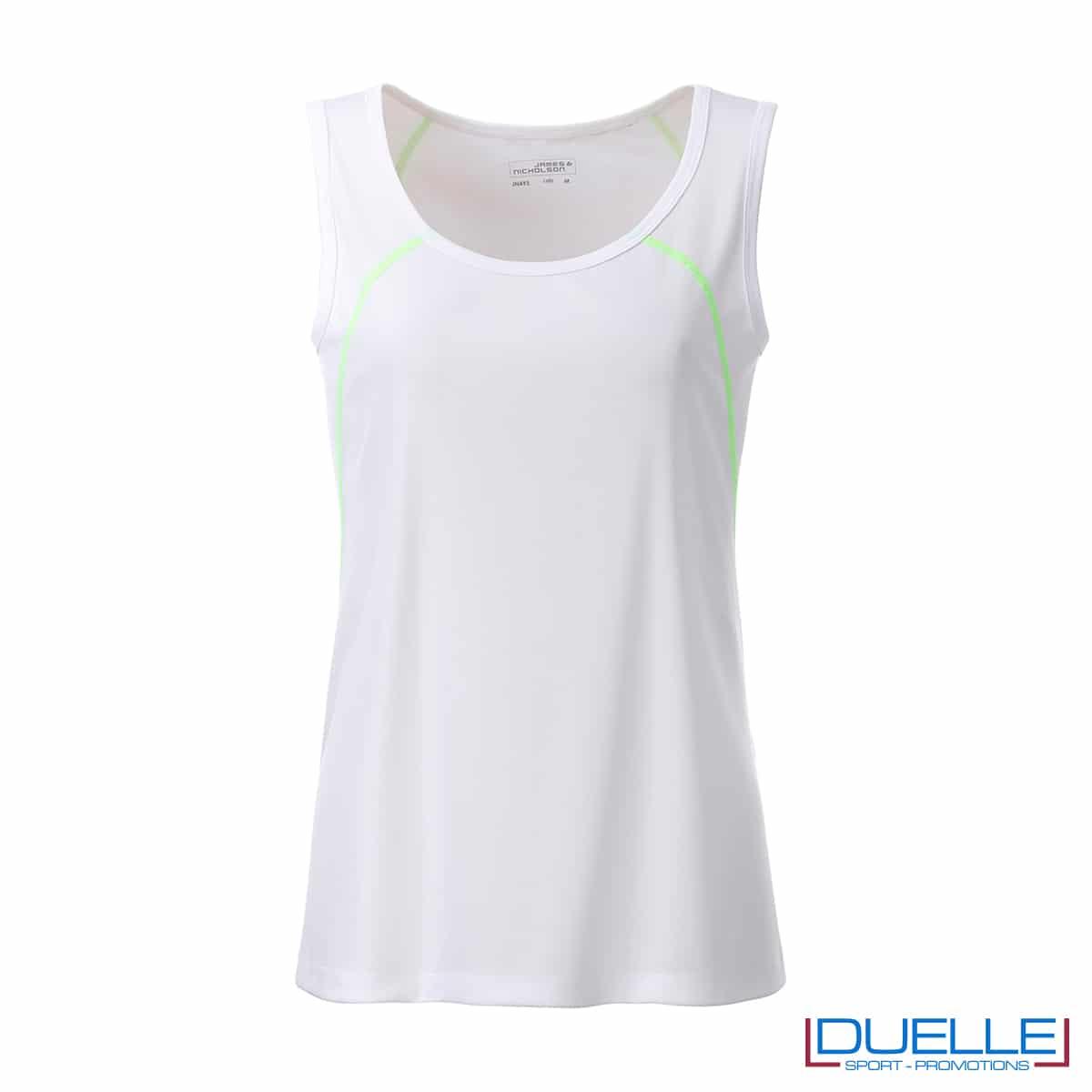 Canotta donna sport traspirante colore bianco/lime