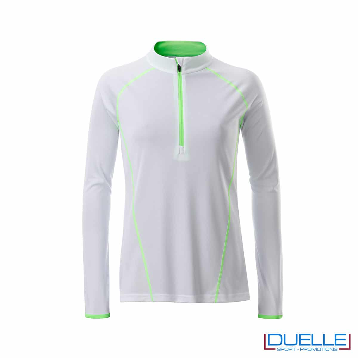 t shirt manica lunga donna colore bianco cuciture in contrasto
