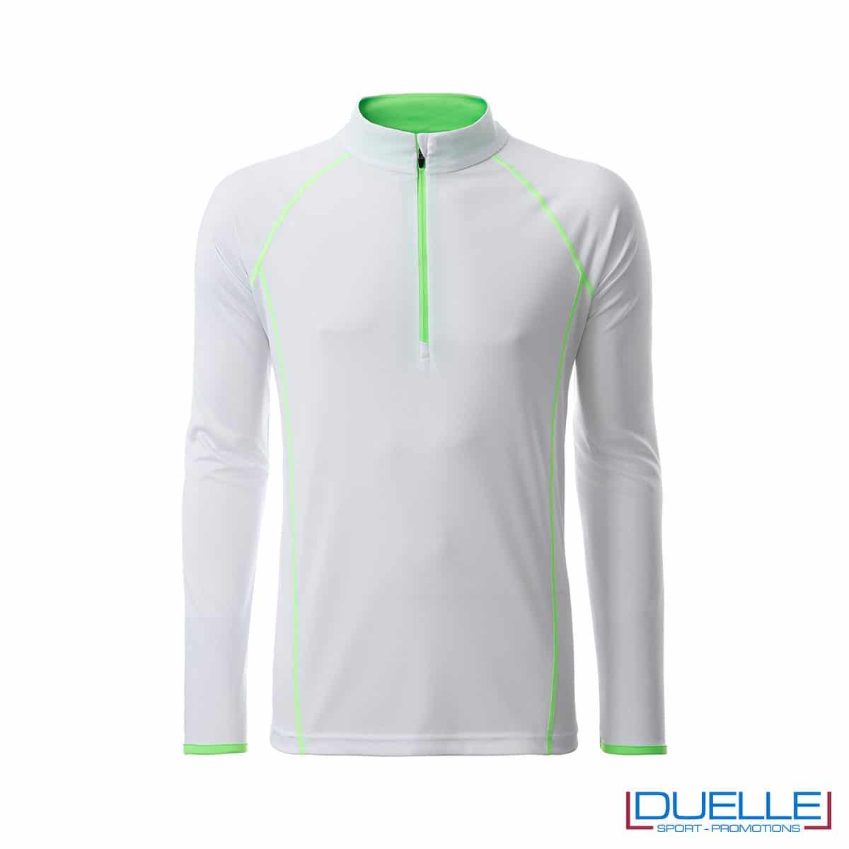T-shirt manica lunga con zip colore bianco/verde lime personalizzata
