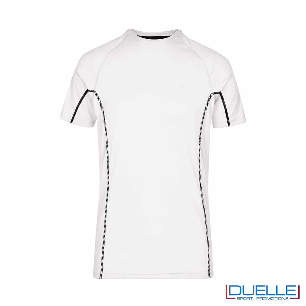 Maglia running Coolmax uomo colore bianco/nero personalizzata
