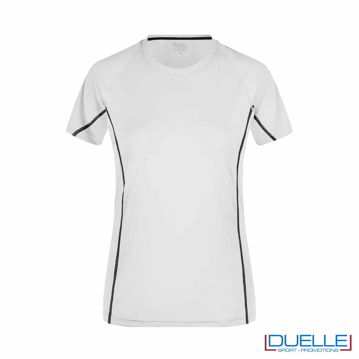 Maglia running Coolmax donna colore bianco/nero personalizzata