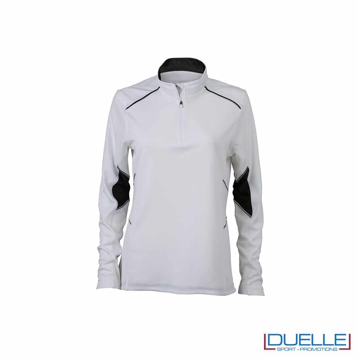 Maglia running con zip donna colore bianco personalizzata