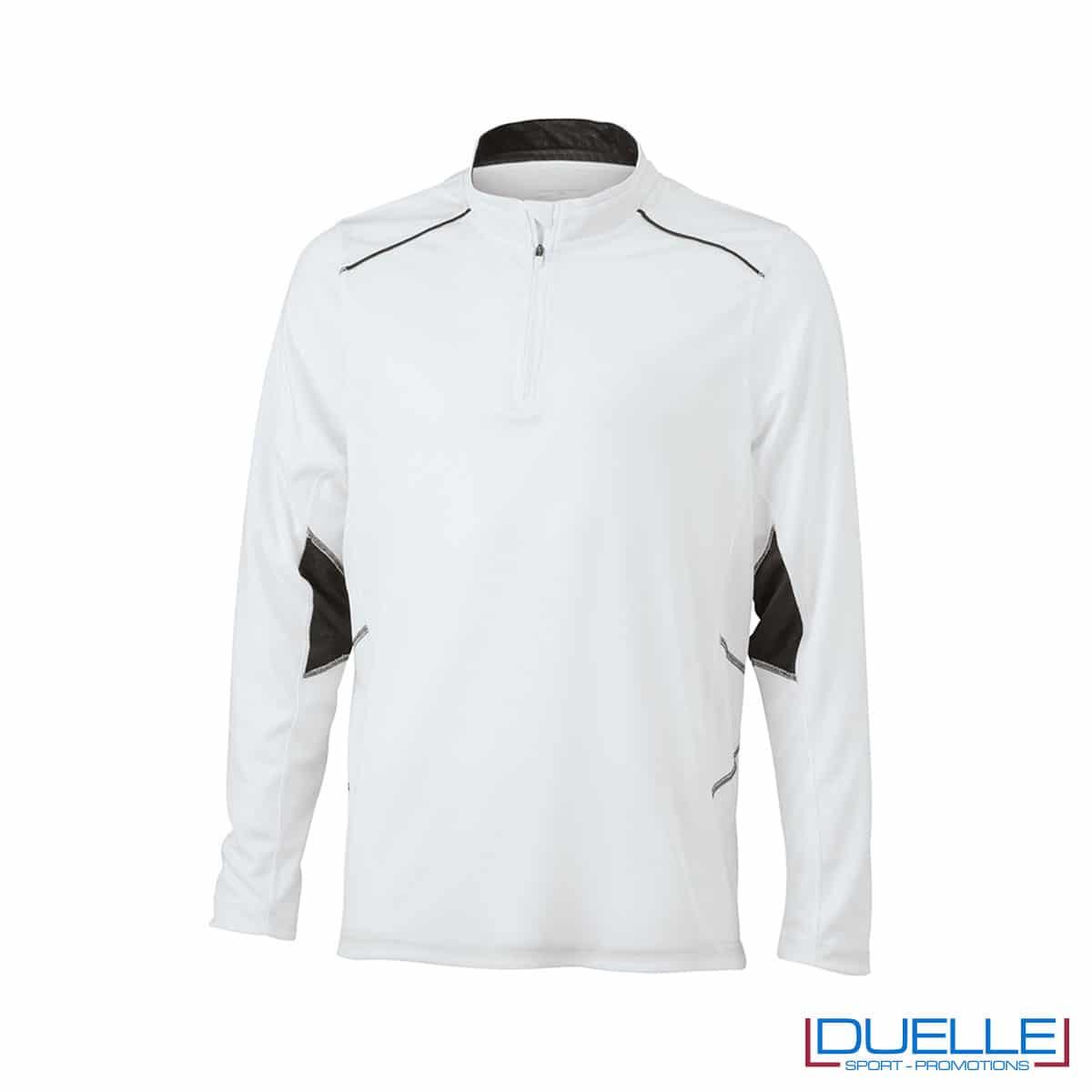 Maglia running con zip uomo colore bianco personalizzata