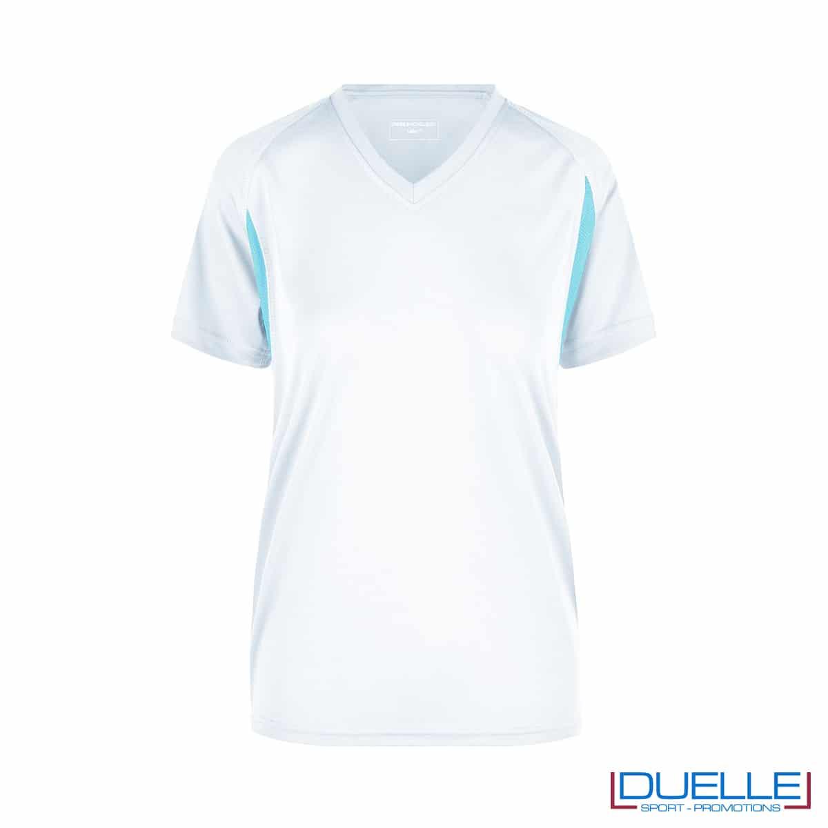 T-shirt running donna personalizzata colore bianco-celeste
