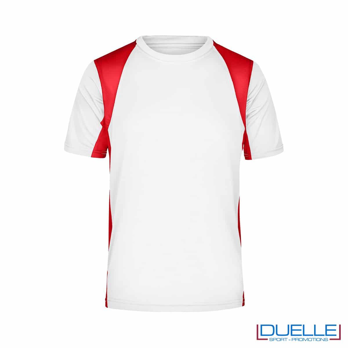 T-shirt running uomo personalizzata colore bianco-rosso