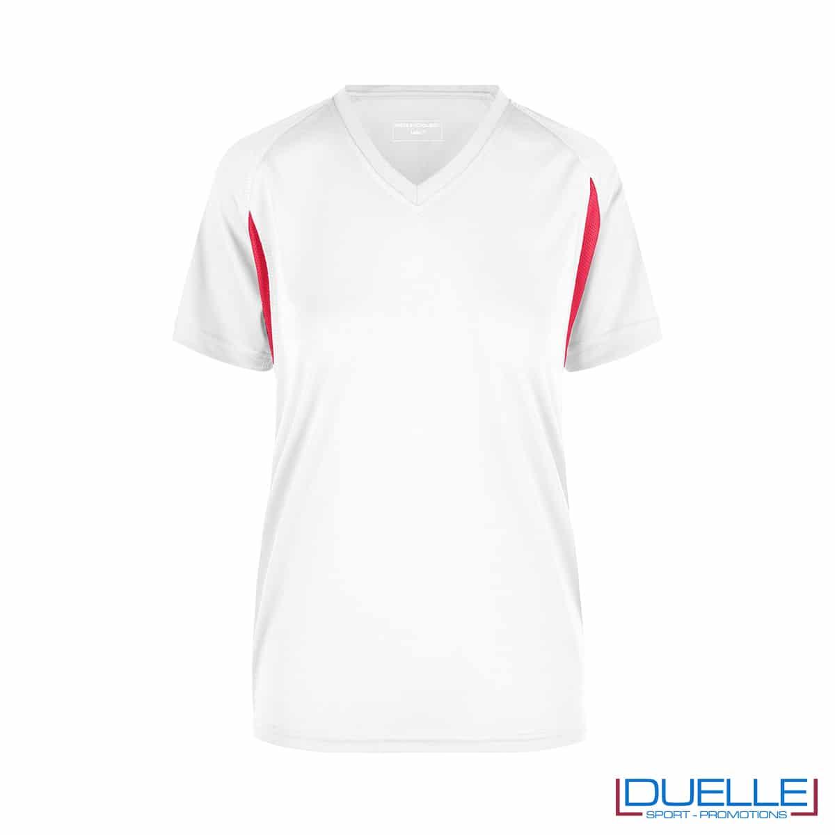 T-shirt running donna personalizzata colore bianco-rosso