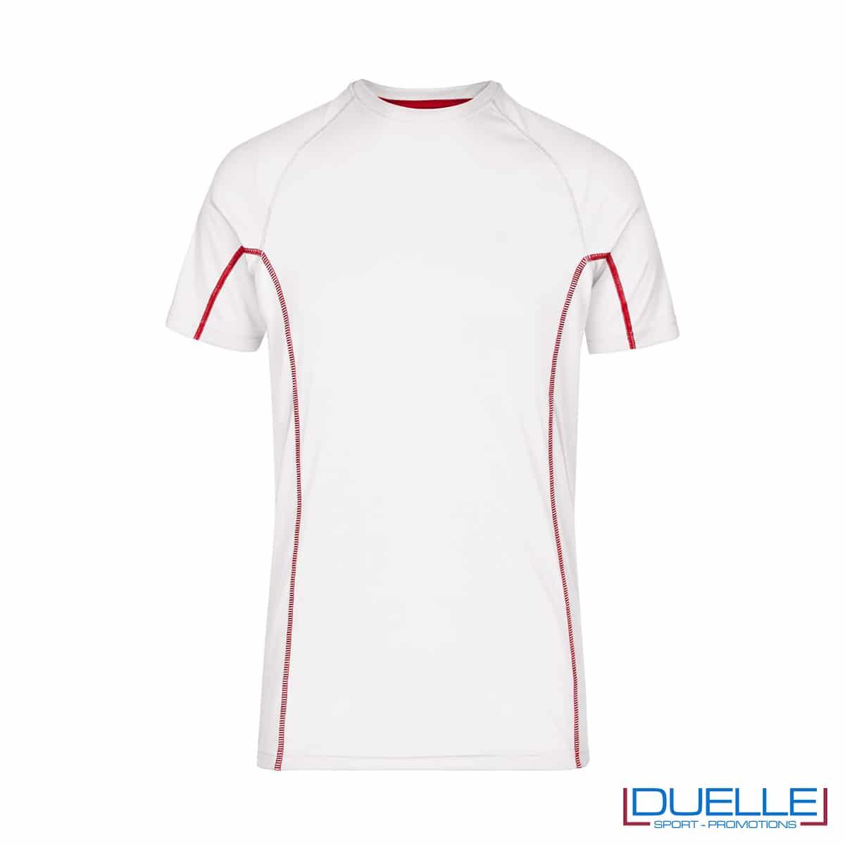 Maglia running Coolmax uomo colore bianco/rosso personalizzata