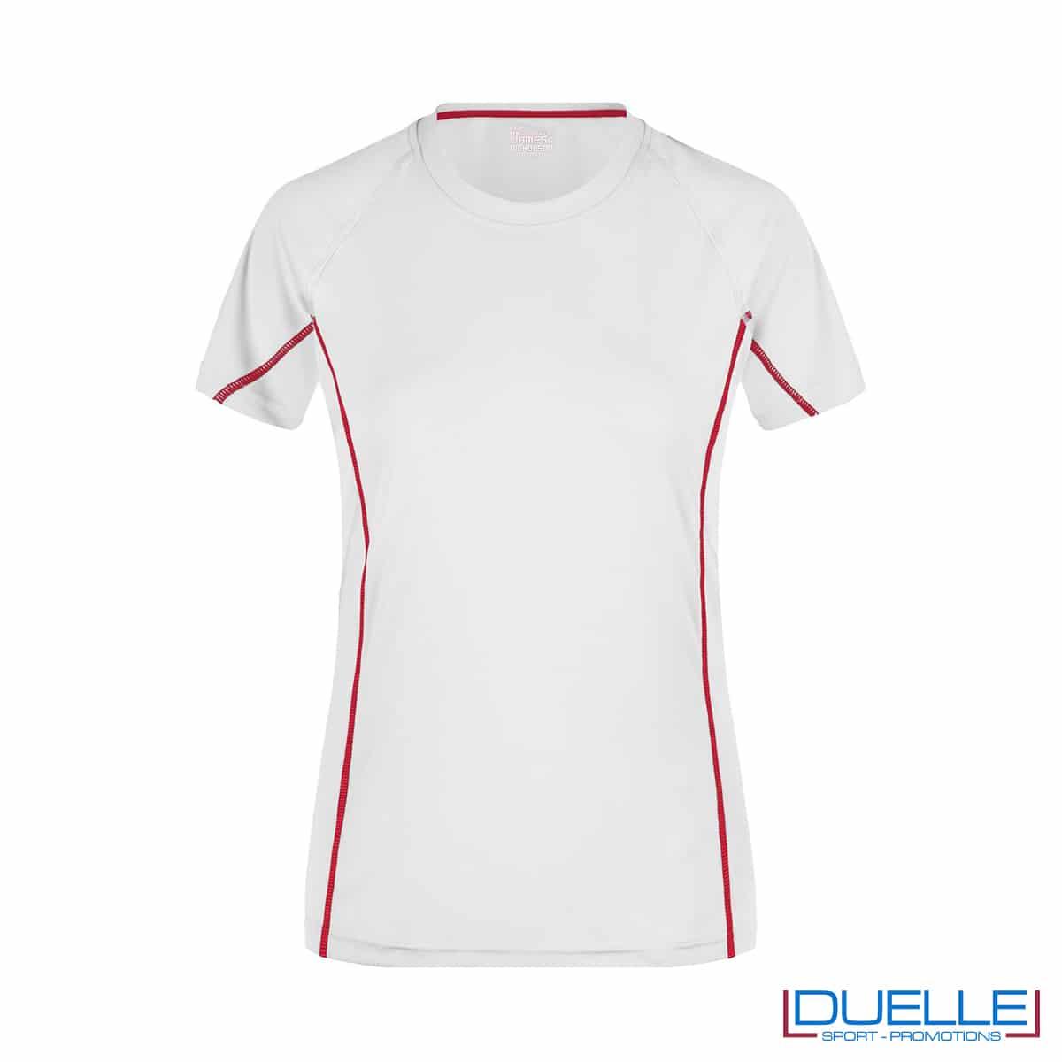 Maglia running Coolmax donna colore bianco/rosso personalizzata