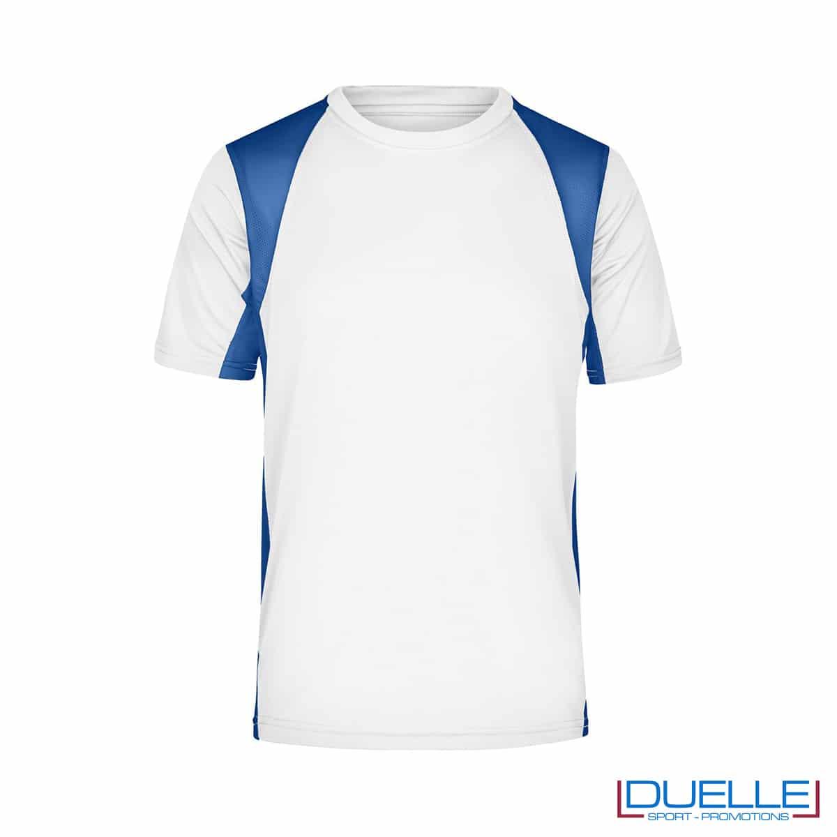 T-shirt running uomo personalizzata colore bianco-blu royal