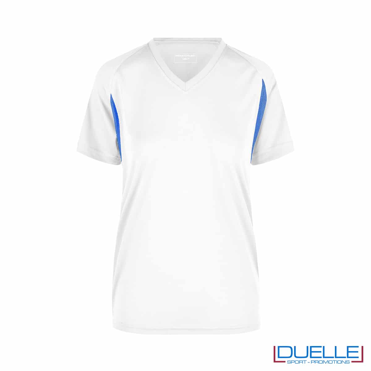 T-shirt running donna personalizzata colore bianco-blu royal