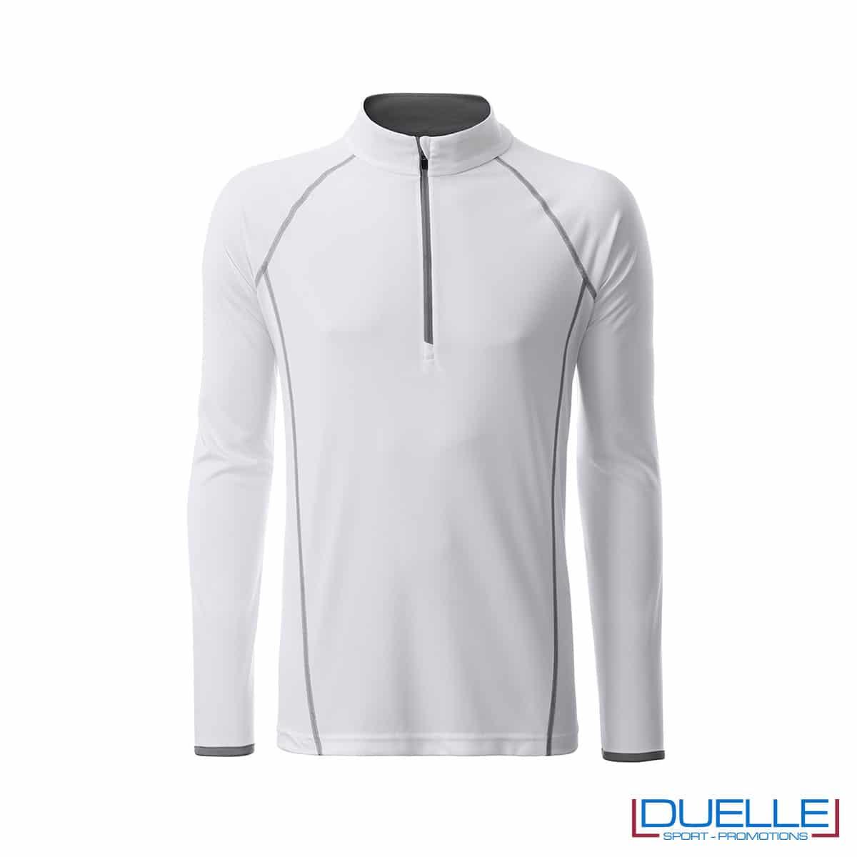 T-shirt manica lunga con zip colore bianco personalizzata