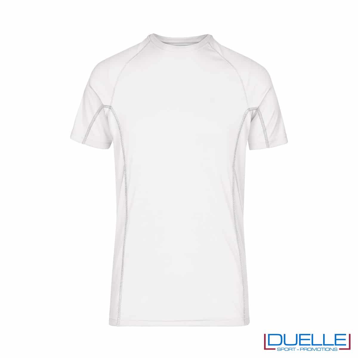 Maglia running Coolmax uomo colore bianco personalizzata