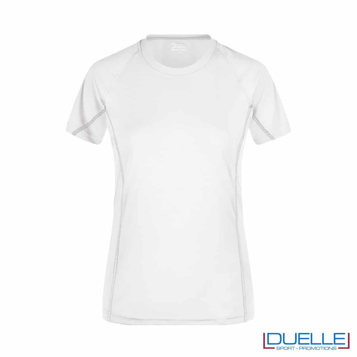 Maglia running Coolmax donna colore bianco personalizzata