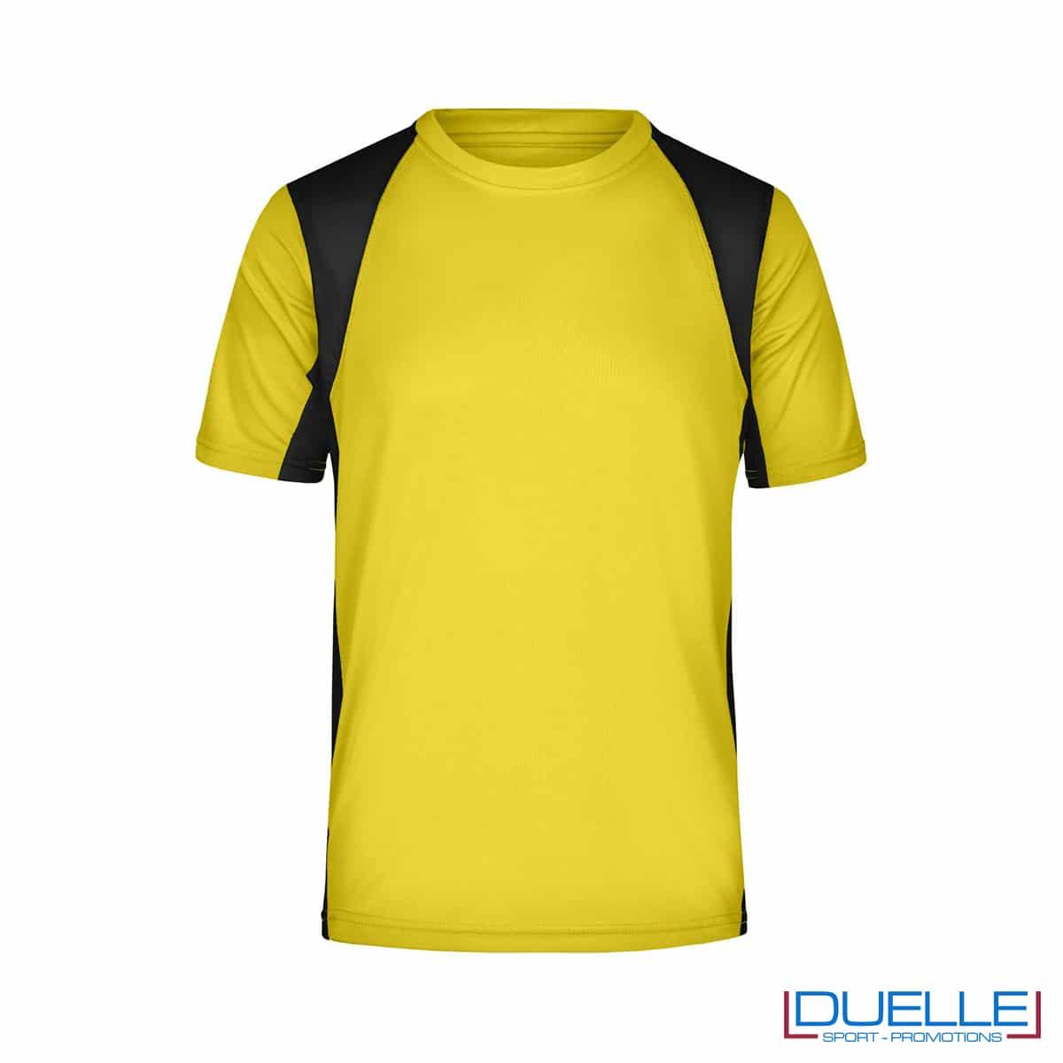 T-shirt running uomo personalizzata colore giallo-nero