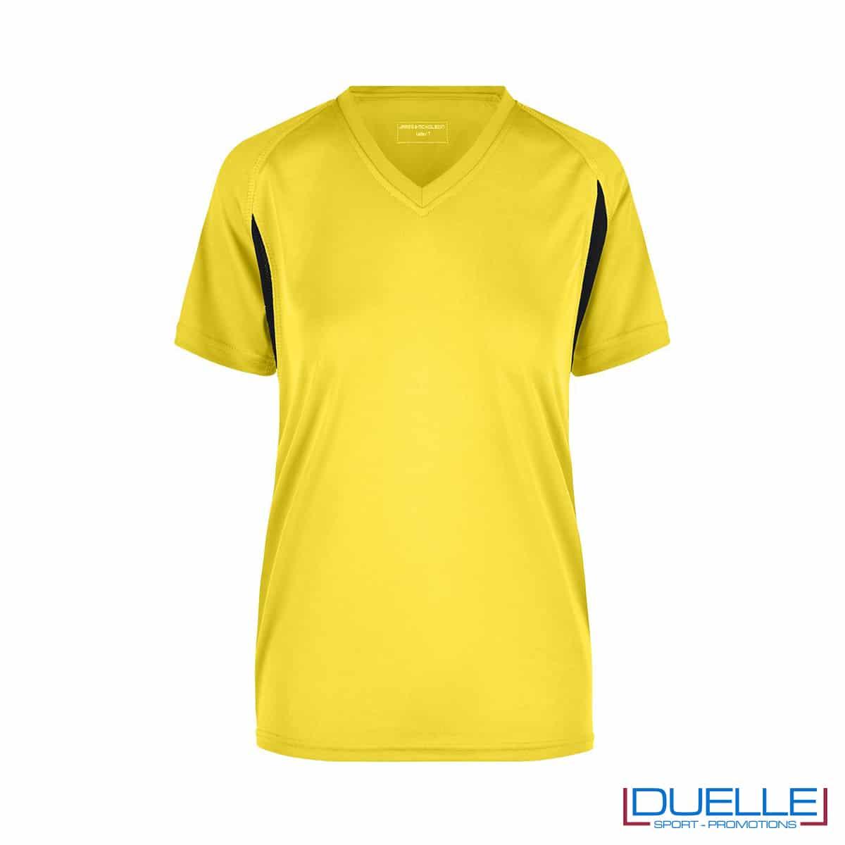 T-shirt running donna personalizzata colore giallo-nero