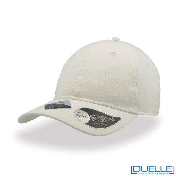 Cappello cotone organico con tecnologia NFC colore bianco personalizzato con ricamo