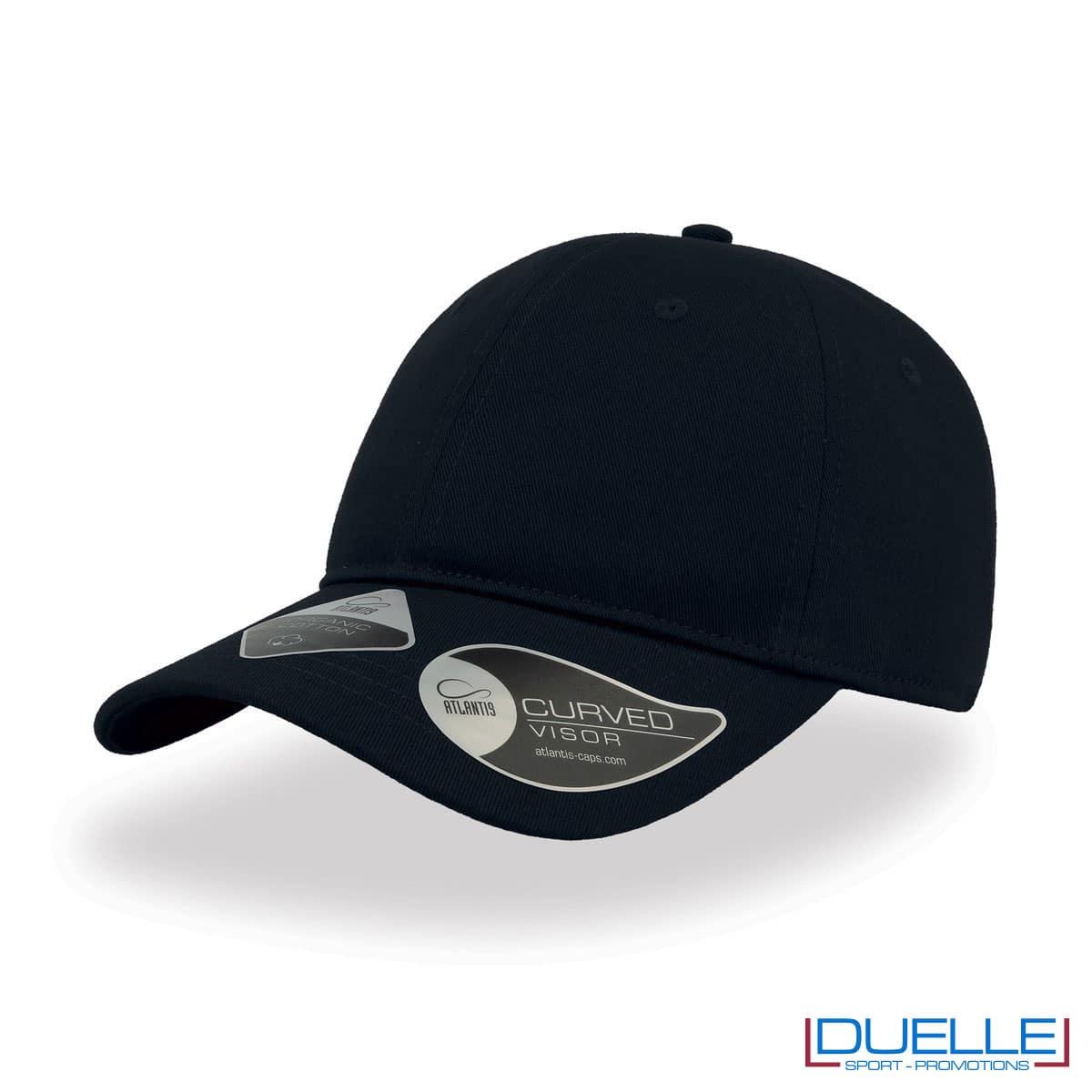 Cappello cotone organico con tecnologia NFC colore blu navy personalizzato con ricamo