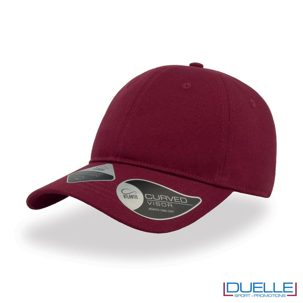Cappello cotone organico con tecnologia NFC colore bordeaux personalizzato con ricamo