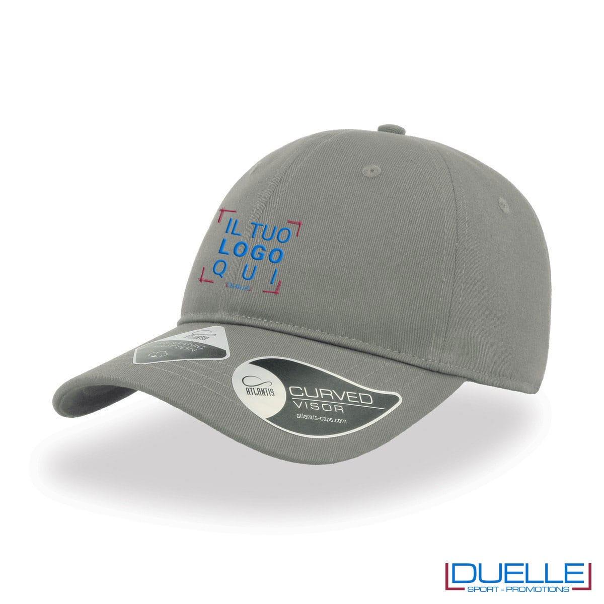 Cappello cotone organico con tecnologia NFC colore grigio personalizzato con ricamo