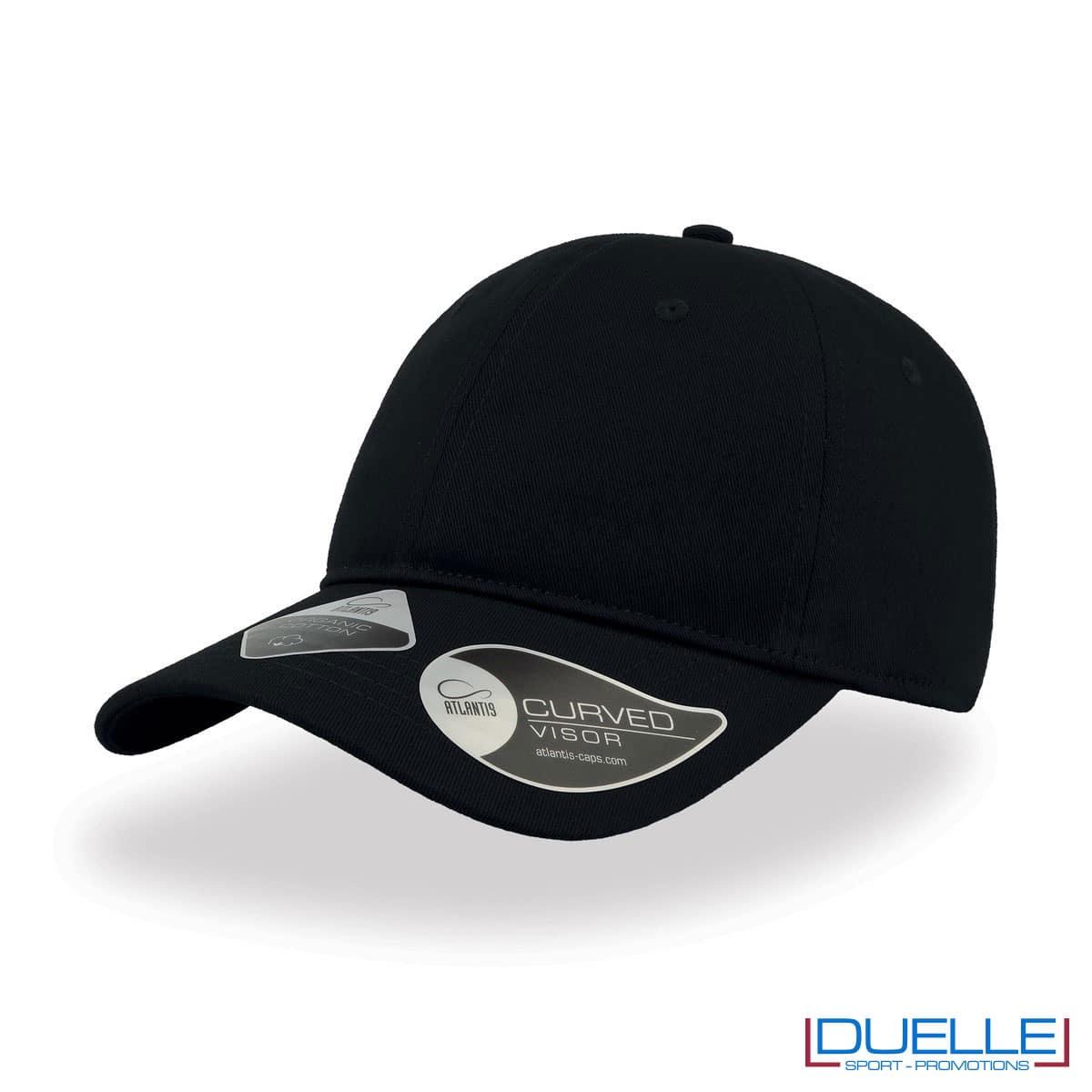 Cappello cotone organico con tecnologia NFC colore nero personalizzato con ricamo