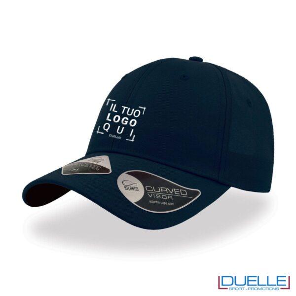 Cappello in R-PET con tecnologia NFC colore blu navy personalizzato con ricamo