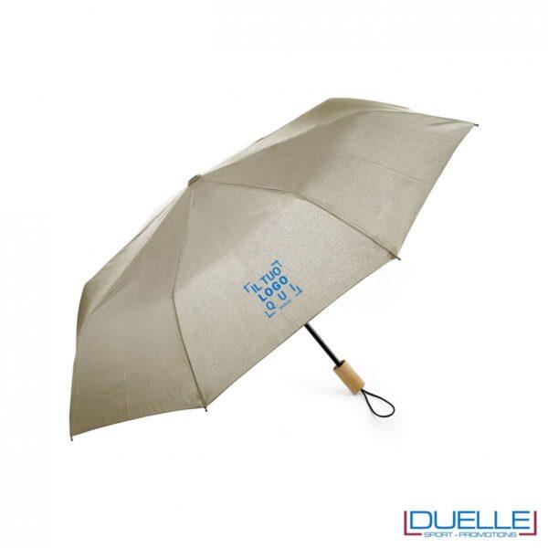 Ombrello pieghevole manuale in R-PET colore beige personalizzato