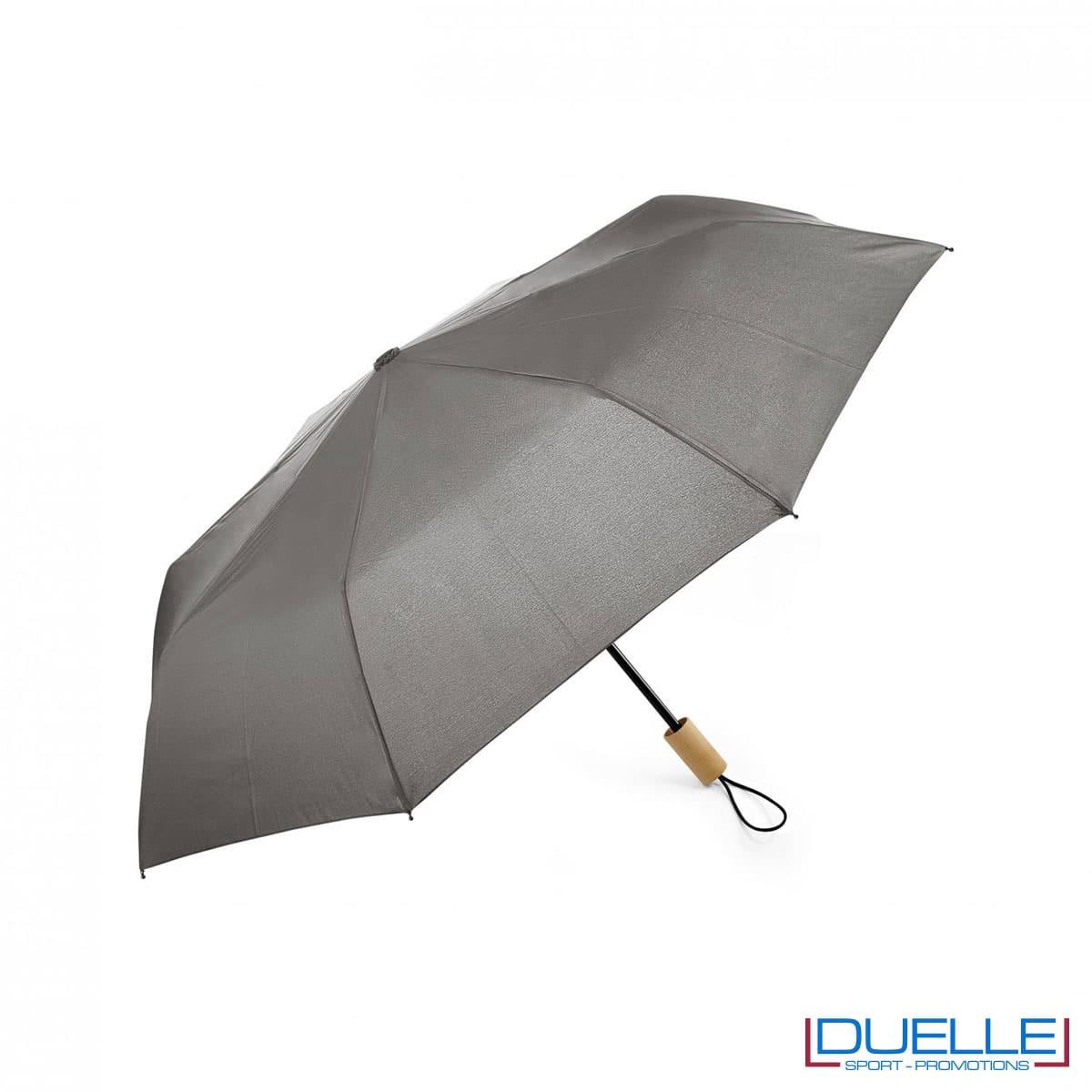 Ombrello pieghevole manuale in R-PET colore grigio personalizzato