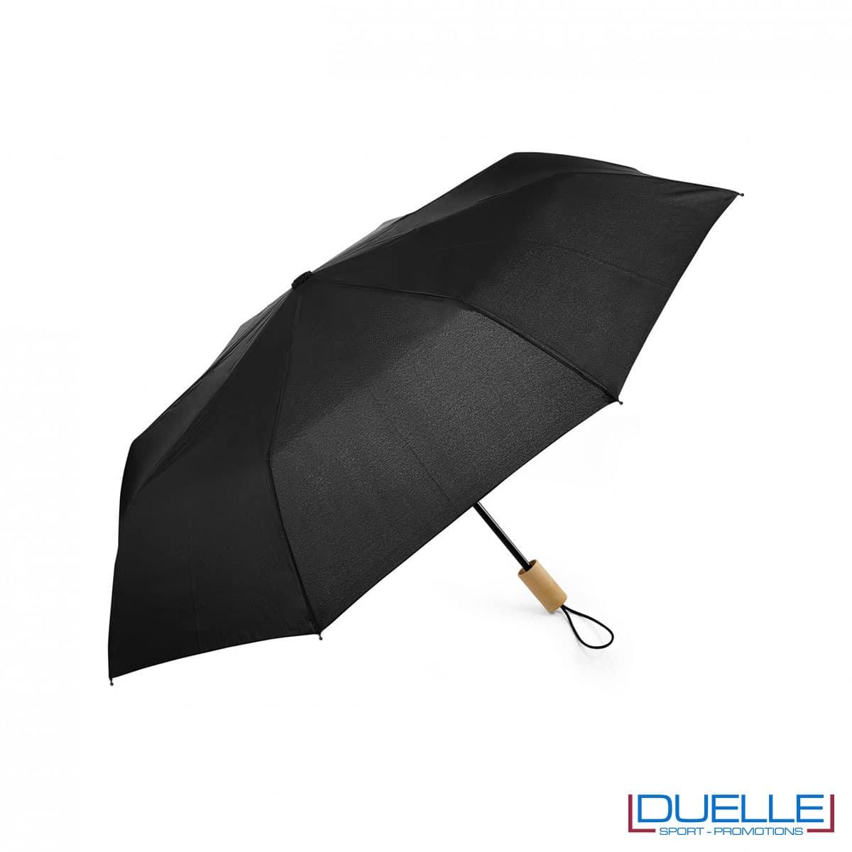 Ombrello pieghevole manuale in R-PET colore nero personalizzato