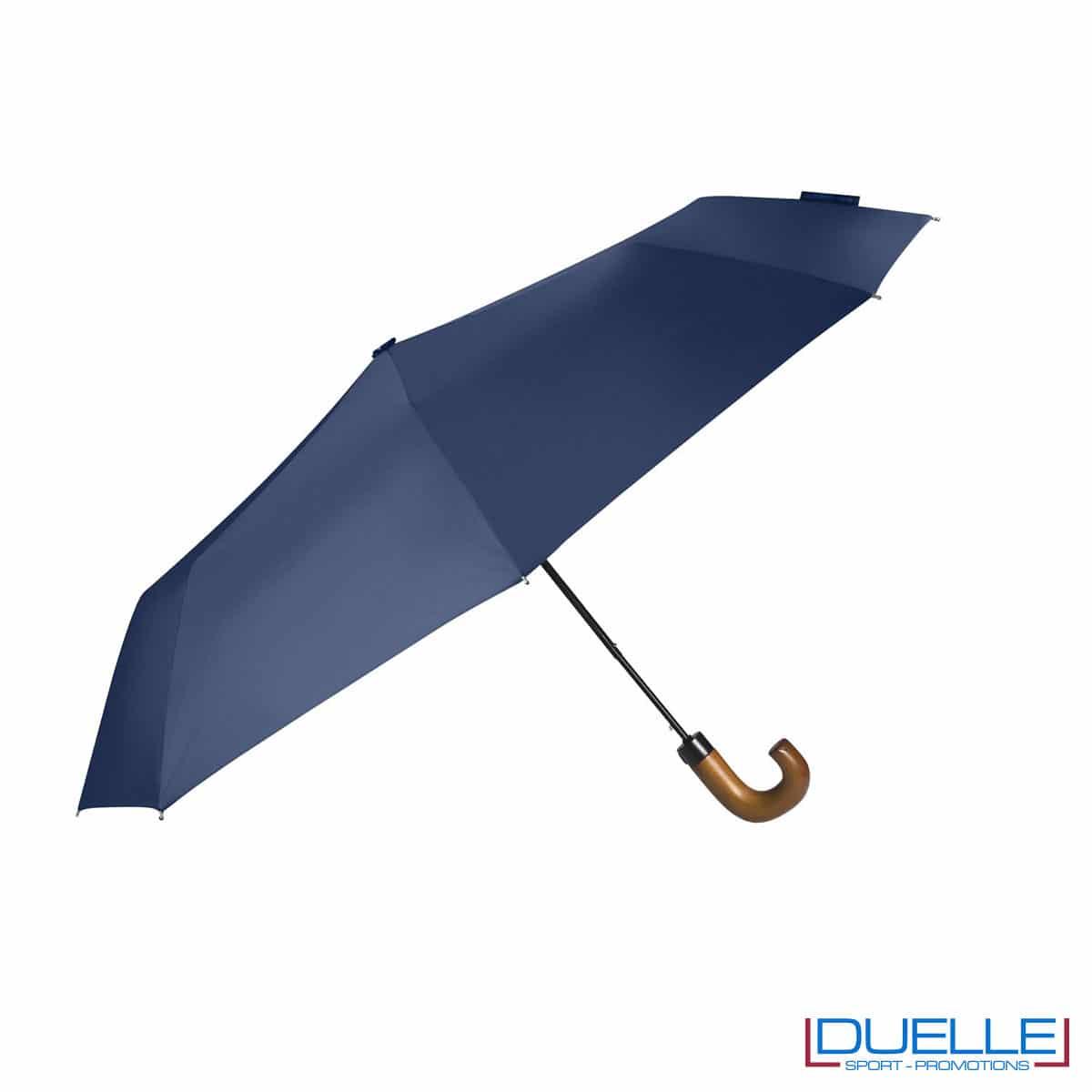 Ombrello pieghevole automatico in R-PET colore blu personalizzato