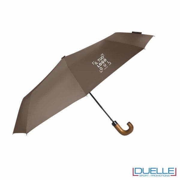 Ombrello pieghevole automatico in R-PET colore marrone personalizzato