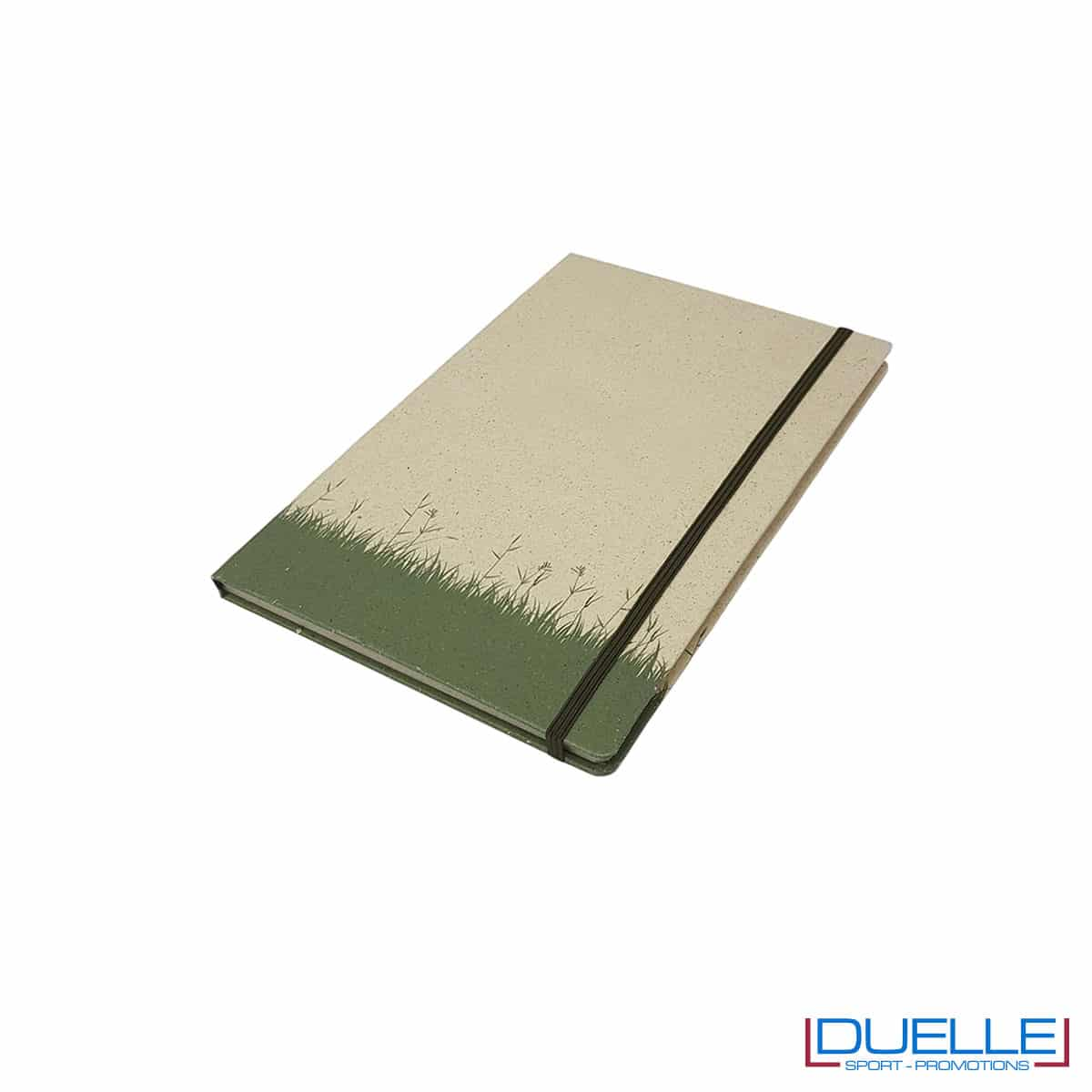 Blocco con elastico A6 in carta di erba essiccata e cellulosa personalizzato