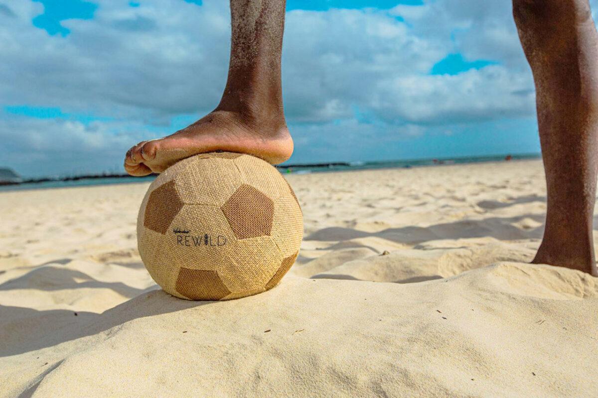 Pallone da spiaggia in iuta ambientato articolo
