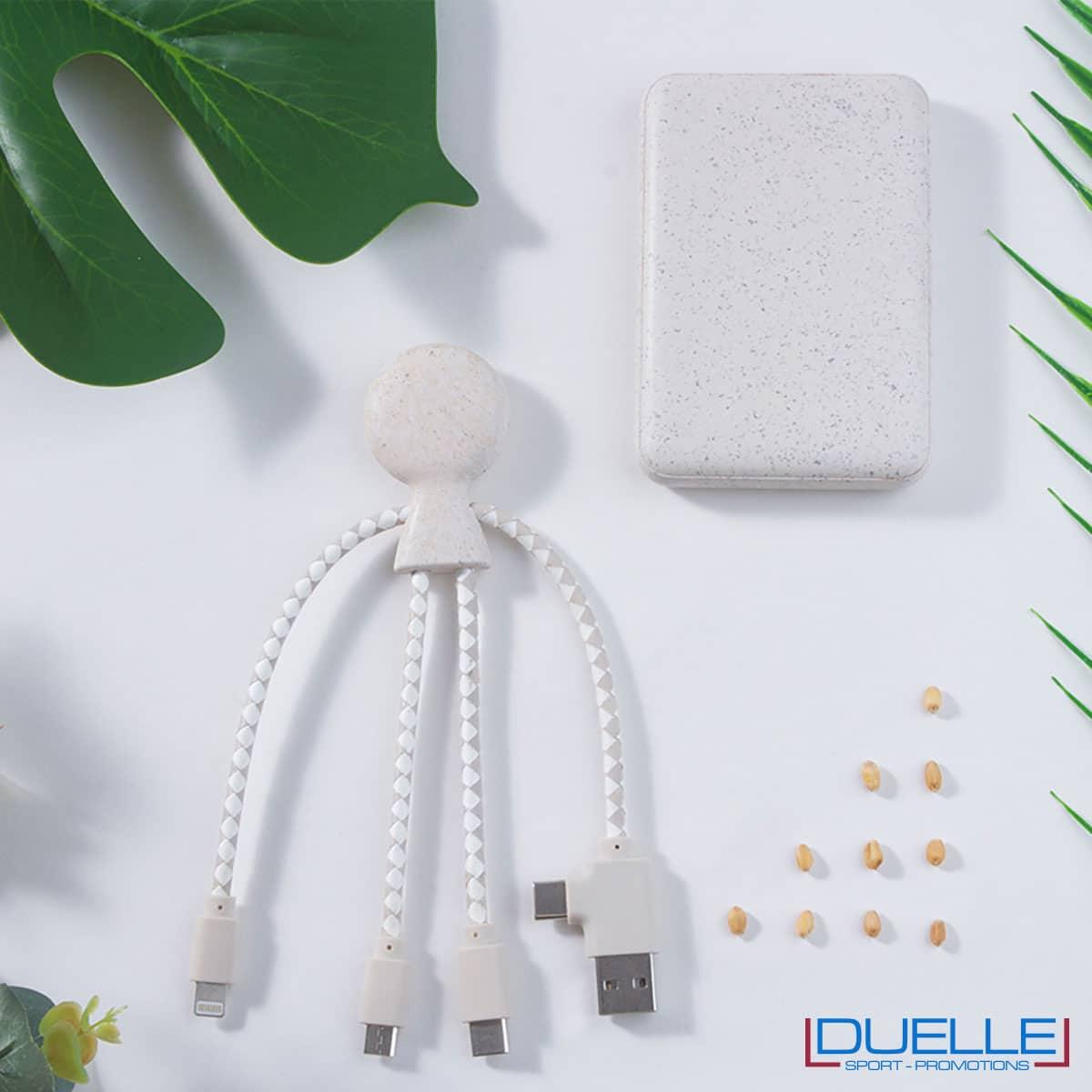 Powerbank in fibra di grano e plastica bio personalizzato con cavi di ricarica