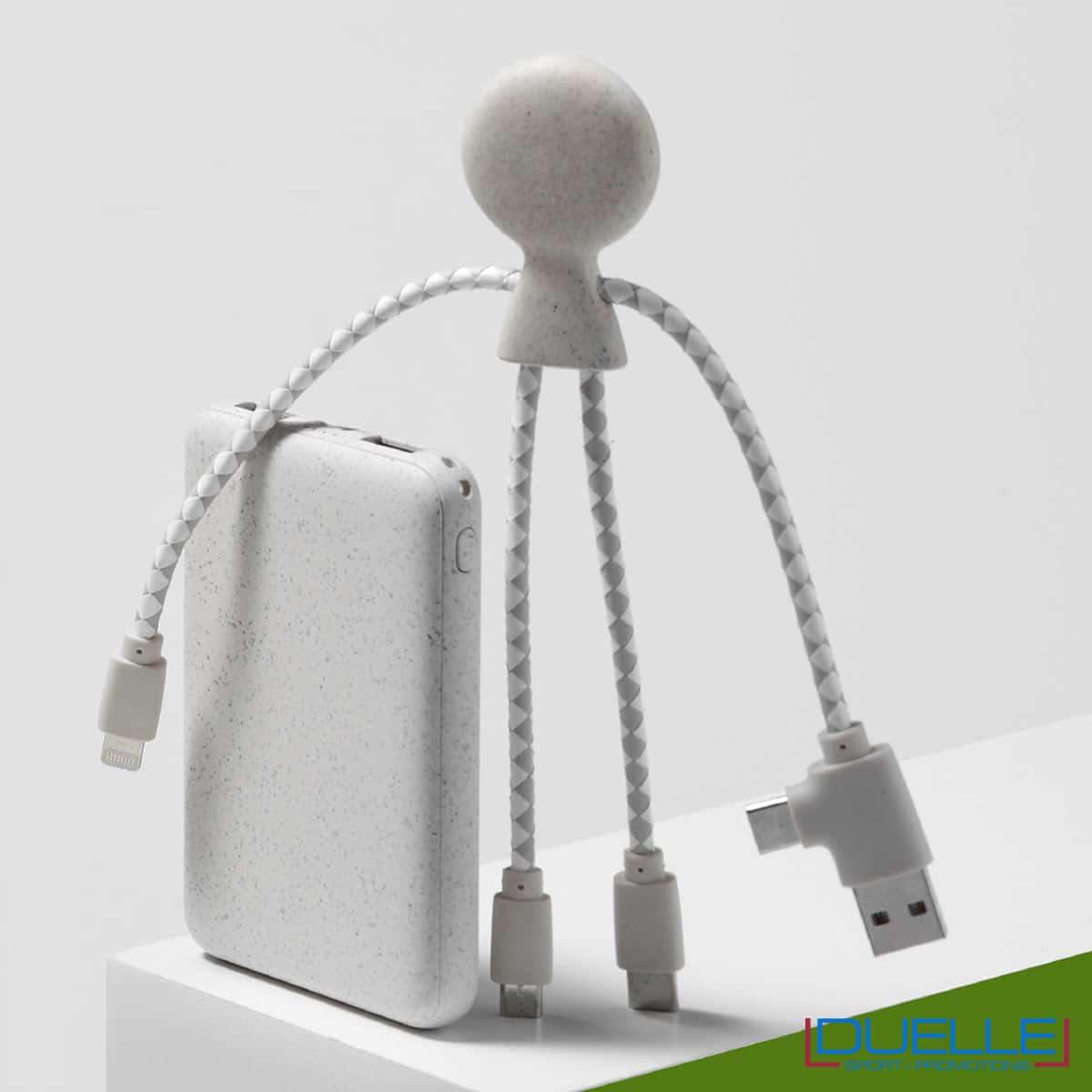 Set powerbank in fibra di grano e plastica bio personalizzato con cavi di ricarica