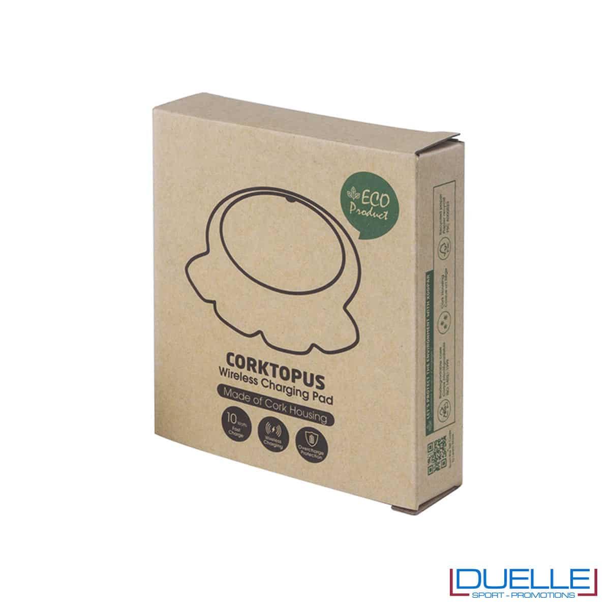 Confezione per caricabatterie wireless eco in sughero personalizzabile