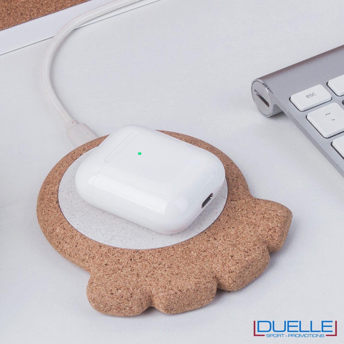Caricabatterie wireless eco in sughero personalizzabile per auricolari