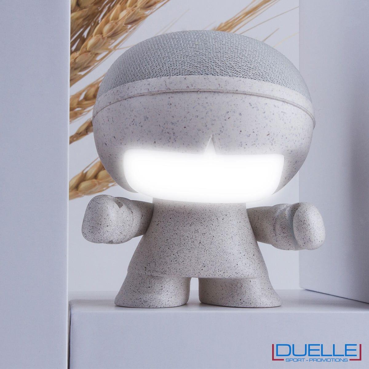 Altoparlante bluetooth ecologico in fibra di grano personalizzato con luce led