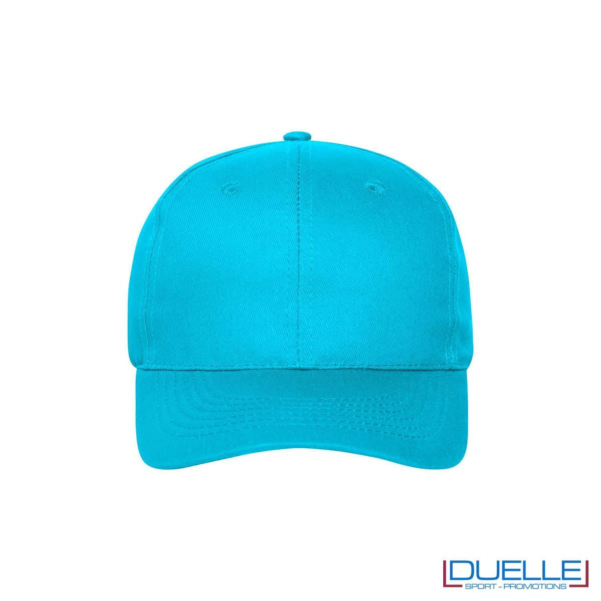Cappellino cotone organico 6 pannelli colore turchese