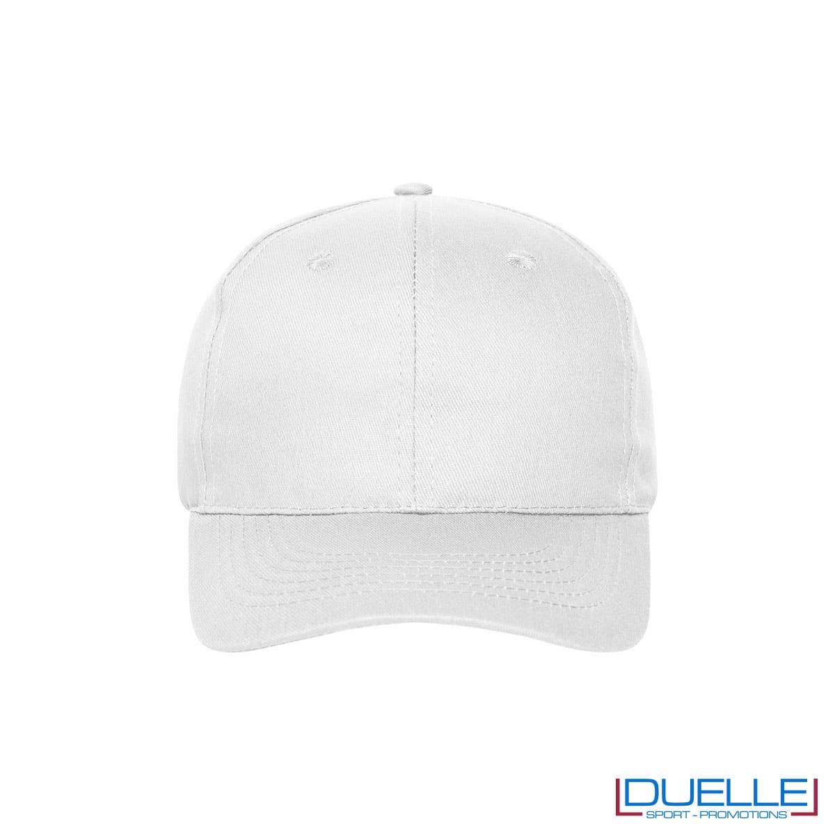 Cappellino cotone organico 6 pannelli colore bianco