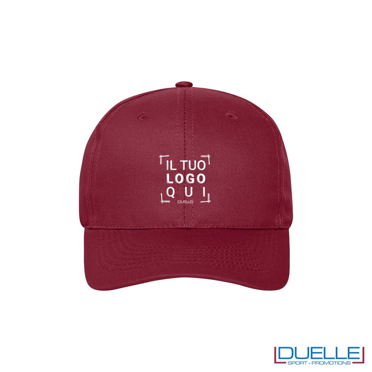 Cappellino cotone organico 6 pannelli colore bordeaux