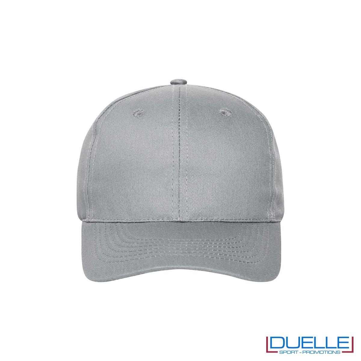 Cappellino cotone organico 6 pannelli colore grigio chiaro